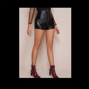 Black Faux Leather Hot Shorts